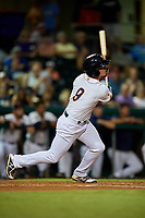Bowling Green Hot Rods center fielder Carl Chester (9) follows through on a swing during a game against the Peoria Chiefs on September 15, 2018 at Bowling Green Ballpark in Bowling Green, Kentucky.  Bowling Green defeated Peoria 6-1.  (Mike Janes/Four Seam Images)