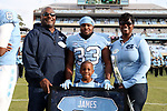 CHAPEL HILL, NC - NOVEMBER 18: UNC's Antonio James was honored as part of Senior Day pregame activities. The University of North Carolina Tar Heels hosted the Western Carolina University Catamounts on November 18, 2017 at Kenan Memorial Stadium in Chapel Hill, NC in a Division I College Football game. UNC won the game 65-10.