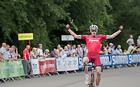 stage winner Jos&eacute; Gon&ccedil;alves (POR/Katusha-Alpecin) crossing the finish line<br /> <br /> Ster ZLM Tour (2.1)<br /> Stage 4: Hotel Verviers &gt; La Gileppe (Jalhay)(190km)