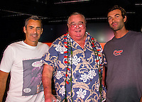 "HONOLULU, Turtle Bay Resort, North Shore, Oahu. - (Thursday, January 3, 2013) Garrett MacNamara (HAW) and Kohl Christensen (HAW) with Chris Greg Noll (USA)  who was the guest  speaker of Talk Story at Surfer The Bar tonight. Noll, nicknamed ""Da Bull"" by Phil Edwards in reference to his physique and way of ""charging"" down the face of a wave is an American pioneer of big wave surfing and is also acknowledged as a prominent longboard shaper. Noll was a member of a US lifeguard team that introduced Malibu boards to Australia around the time of the Melbourne Olympic Games. Noll became known for his exploits in large Hawaiian surf on the North Shore of Oahu. He first gained a reputation in November 1957 after surfing Waimea Bay in 25-30 ft surf when it had previously been thought impossible even to the local Hawaiians. He is perhaps best known for being the first surfer to ride a wave breaking on the outside reef at the so-called Banzai Pipeline in November 1964...It was later at Makaha, in December 1969, that he rode what many at the time believed to be the largest wave ever surfed. After that wave and the ensuing wipeout during the course of that spectacular ride down the face of a massive dark wall of water, his surfing tapered off and he closed his Hermosa Beach shop in the early 1970s. He and other surfers such as Pat Curren, Mike Stang, Buzzy Trent, George Downing, Mickey Munoz, Wally Froyseth, Fred Van Dyke and Peter Cole are viewed as the most daring surfers of their generation...Noll is readily identified in film footage while surfing by his now iconic black and white horizontally striped ""jailhouse"" boardshorts and was interviewed by host Jodi Wilmott (AUS). . Photo: joliphotos.com"