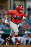 Peoria Chiefs designated hitter Luken Baker (47) runs to first base during a game against the Bowling Green Hot Rods on September 15, 2018 at Bowling Green Ballpark in Bowling Green, Kentucky.  Bowling Green defeated Peoria 6-1.  (Mike Janes/Four Seam Images)