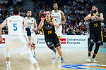 Real Madrid Sergio Llull, Rudy Fernandez and Anthony Randolph and Iberostar Tenerife Mateusz Ponitka and Kostas Vasileiadis  during first match quarter finals of Liga Endesa Playoff between Real Madrid and Iberostar Tenerife at Wizink Center in Madrid, Spain. May 27, 2018. (ALTERPHOTOS/Borja B.Hojas)
