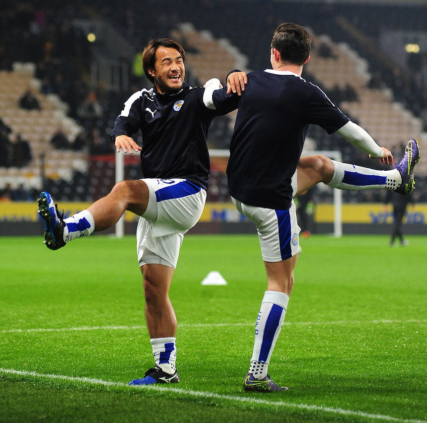 Leicester City's Shinji Okazaki, left, with team-mate Ben Chilwell during the pre-match warm-up <br /> <br /> Photographer Chris Vaughan/CameraSport<br /> <br /> Football - Capital One Cup Round 4 - Hull City v Leicester City - Tuesday 27th October 2015 - Kingston Communications Stadium - Hull<br />  <br /> &copy; CameraSport - 43 Linden Ave. Countesthorpe. Leicester. England. LE8 5PG - Tel: +44 (0) 116 277 4147 - admin@camerasport.com - www.camerasport.com