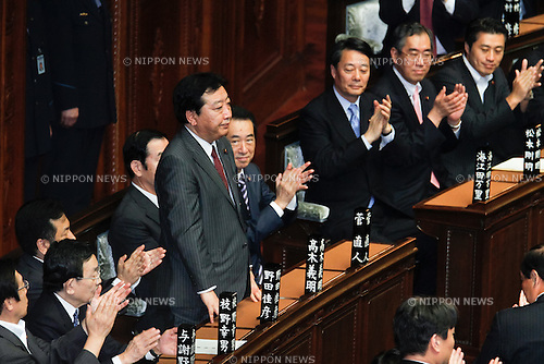 August 30, 2011, Tokyo, Japan - Yoshihiko Noda, newly-elected leader of the ruling Democratic Party of Japan, acknowledges applause as he accepts the nomination for the countrys 62th prime minister following a vote in the lower chamber of the Diet in Tokyo on Tuesday, August 30, 2011. Noda, a 54-year-old advocate of a higher sales tax to fix state finances who succeeded unpopular Naoto Kan, is expected to assume the post and form the Cabinet of his own as early as September 2. (Photo by AFLO) [3609] -mis-