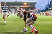 Picture by David Neilson/SWpix.com/PhotosportNZ - 10/02/2018 - Rugby League - Betfred Super League - Wigan Warriors v Hull FC  - WIN Stadium, Wollongong, Australia - Wigan's Liam Marshall touches down for a try against Hull FC.