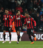 Jordon Ibe (R) of Bournemouth shoots and scores the equaliser during the Premier League match between Bournemouth v West Bromwich Albion played at Vitality Stadium, Bournemouth United Kingdom  on 17 Mar 2018