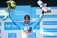 Picture by SWpix.com - 06/05/2018 - Cycling - 2018 Tour de Yorkshire - Stage 4: Halifax to Leeds - Greg Van Avermaet celebrates winning the overall race