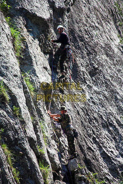 Soldiers training and climbing mountain, Bicaz Gorge, Cheile Bicazului Hasmas, Southern Moldavia, Romania