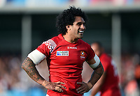 Hale T Pole of Tonga looks on during a break in play. Rugby World Cup Pool C match between Tonga and Namibia on September 29, 2015 at Sandy Park in Exeter, England. Photo by: Patrick Khachfe / Onside Images