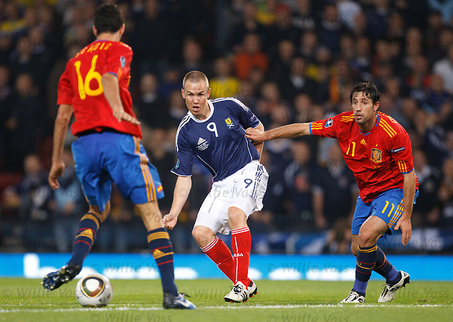 Kenny Miller is clean through on goals and decides to square the ball instead and it hits Sergio Busquets