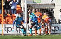 Fleetwood Town's Wes Burns celebrates scoring his sides first goal <br /> <br /> Photographer Mick Walker/CameraSport<br /> <br /> The EFL Sky Bet League One - Blackpool v Fleetwood Town - Saturday 14th April 2018 - Bloomfield Road - Blackpool<br /> <br /> World Copyright &copy; 2018 CameraSport. All rights reserved. 43 Linden Ave. Countesthorpe. Leicester. England. LE8 5PG - Tel: +44 (0) 116 277 4147 - admin@camerasport.com - www.camerasport.com