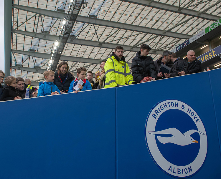 Brighton & Hove Albion fans wanting at the tunnel<br /> <br /> Photographer David Horton/CameraSport<br /> <br /> The Premier League - Brighton and Hove Albion v Liverpool - Saturday 12th January 2019 - The Amex Stadium - Brighton<br /> <br /> World Copyright © 2018 CameraSport. All rights reserved. 43 Linden Ave. Countesthorpe. Leicester. England. LE8 5PG - Tel: +44 (0) 116 277 4147 - admin@camerasport.com - www.camerasport.com