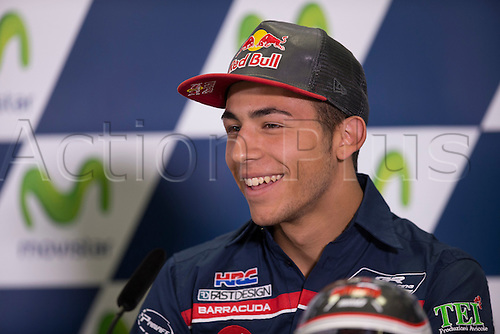 24.09.2016. Motorland Aragon, Alcaniz, Spain. MotoGP Grand Prix of Aragon. Press conference.  Enea Bastianini (ITA), Gresini Racing Moto3 rider,