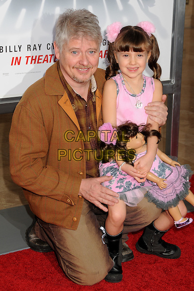 "DAVE FOLEY & ANNA FOLEY .""The Spy Next Door"" Los Angeles Premiere held at The Grove,  Los Angeles, California, USA, .9th January 2010..half full length kneeling daughter family pink on knee sitting smiling brown facial hair goatee .CAP/ADM/BP.©Byron Purvis/Admedia/Capital Pictures"