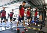 Pictured L-R: Stephen Kingsley, Angel Rangel, Federico Fernandez, Oliver McBurnie and Kyle Bartley. Wednesday 05 July 2017<br />Re: Swansea City FC training at Fairwood training ground, UK