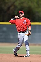 Los Angels Angels of Anaheim second baseman Angel Rosa (8) during an instructional league game against the Colorado Rockies on September 30, 2013 at Tempe Diablo Stadium Complex in Tempe, Arizona.  (Mike Janes/Four Seam Images)