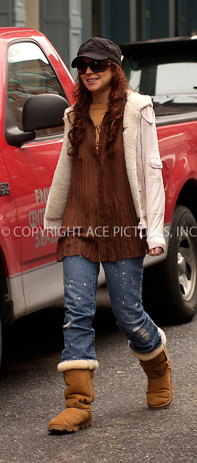 WWW.ACEPIXS.COM . . . . .  ....NEW YORK, MARCH 29, 2005....Lindsay Lohan on the set of 'Just My Luck.'....Please byline: KRISTIN CALLAHAN - ACE PICTURES.... *** ***..Ace Pictures, Inc:  ..Craig Ashby (212) 243-8787..e-mail: picturedesk@acepixs.com..web: http://www.acepixs.com
