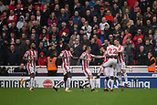 30th September, bet365 Stadium, Stoke-on-Trent, England; EPL Premier League football, Stoke City versus Southampton; Stoke players celebrate a goal by Stoke City's Mame Biram Diouf