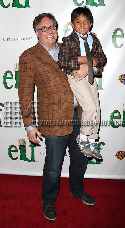 """Douglas Carter Beane with son Cooper.arrives at the Opening Night Performance of """"Elf"""" at The Al Hirschfeld Theatre in New York City."""