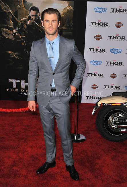 WWW.ACEPIXS.COM<br /> <br /> November 4 2013, LA<br /> <br /> Actor Chris Hemsworth arriving at the Los Angeles premiere of 'Thor: The Dark World' at the El Capitan Theatre on November 4, 2013 in Hollywood, California. <br /> <br /> By Line: Peter West/ACE Pictures<br /> <br /> <br /> ACE Pictures, Inc.<br /> tel: 646 769 0430<br /> Email: info@acepixs.com<br /> www.acepixs.com