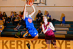 Team Garvey's  Mystics Cassandra Buckley shoots  for a basket with Guard Aillish O'Reilly, NUIG Mystics in the Team Garvey's v NUIG Mystics Women's Div one Basketball at Mercy Mounthawk Gym on Saturday