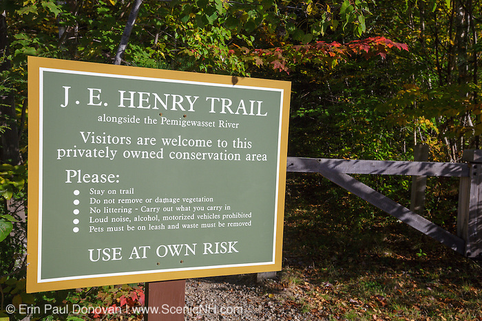 J.E Henry Trail in Lincoln, New Hampshire USA. This trail runs on the side of the East Branch of the Pemigewasset River in a privatetly owned conservation area. Visitors are allowed on the trail.