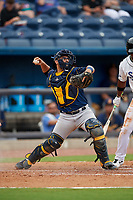Montgomery Biscuits catcher Rene Pinto (13) throws down to second base during a Southern League game against the Biloxi Shuckers on May 8, 2019 at MGM Park in Biloxi, Mississippi.  Biloxi defeated Montgomery 4-2.  (Mike Janes/Four Seam Images)