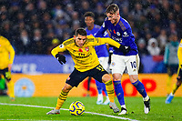 9th November 2019; King Power Stadium, Leicester, Midlands, England; English Premier League Football, Leicester City versus Arsenal; Lucas Torreira of Arsenal holds off James Maddison of Leicester City - Strictly Editorial Use Only. No use with unauthorized audio, video, data, fixture lists, club/league logos or 'live' services. Online in-match use limited to 120 images, no video emulation. No use in betting, games or single club/league/player publications