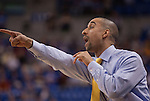 March 31,  2010                             Virginia Commonwealth head coach Shaka Smart yells in to his team early in the first half.   The Saint Louis University Billikens hosted the Virginia Commonwealth University Rams in Game Two of the Best of Three Series Championship of the College Basketball Invitational Tournament.   The game was played at SLU's Chaifetz Arena, near downtown St. Louis on Wednesday March 31, 2010.