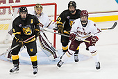 Luc Gerdes (CC - 8), Ryan Edquist (BC - 35), Westin Michaud (CC - 17), Casey Fitzgerald (BC - 5) - The Boston College Eagles defeated the visiting Colorado College Tigers 4-1 on Friday, October 21, 2016, at Kelley Rink in Conte Forum in Chestnut Hill, Massachusetts.The Boston College Eagles defeated the visiting Colorado College Tiger 4-1 on Friday, October 21, 2016, at Kelley Rink in Conte Forum in Chestnut Hill, Massachusett.