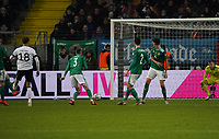 19th November 2019, Frankfurt, Germany; 2020 European Championships qualification, Germany versus Northern Ireland;  Leon Goretzka Germany scores the goal for 5 1 through the legs of Michael Smith Northern Ireland