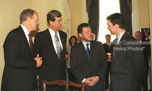 King Abdullah II of Jordan meets with Members of the United States Senate on Capitol Hill in Washington, D.C. on May 20, 1999.  Pictured, left to right, U.S. Senator Don Nickles (Republican of Oklahoma); U.S. Senate Majority Leader Trent Lott (Republican of Mississippi); King Abdullah II of Jordan; and U.S. Senate Minority Leader Tom Daschle (Democrat of South Dakota)..Credit: Ron Sachs / CNP