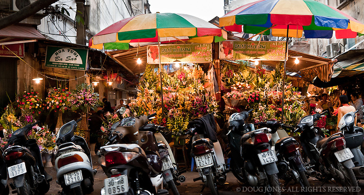 Sidewalks in Hanoi's Old Quarter aren't for pedestrians.  Shopkeepers rent parking spaces to moto drivers, which comprise the vast majority of workers in the city.  All these motos looked right at home in front of this colorful flower mart.
