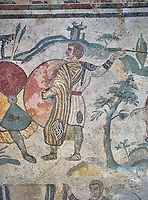 Close up detail picture of the Roman mosaics of the small hunt, room no 24 at the Villa Romana del Casale, first quarter of the 4th century AD. Sicily, Italy. A UNESCO World Heritage Site.