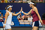 Ying-Ying Duan (R) and Xinyun Han (L) of China celebrates winning a point during the doubles Round Robin match of the WTA Elite Trophy Zhuhai 2017 against Chen Liang and Zhaoxuan Yang of China at Hengqin Tennis Center on November  04, 2017 in Zhuhai, China. Photo by Yu Chun Christopher Wong / Power Sport Images