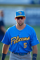 Myrtle Beach Pelicans Grant Fennell (5) before a Carolina League game against the Potomac Nationals on August 14, 2019 at Northwest Federal Field at Pfitzner Stadium in Woodbridge, Virginia.  Potomac defeated Myrtle Beach 7-0.  (Mike Janes/Four Seam Images)