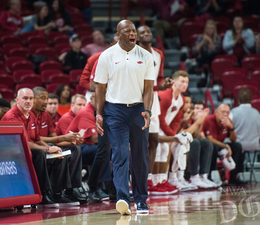 NWA Democrat-Gazette/BEN GOFF @NWABENGOFF <br /> Mike Anderson, Arkansas head coach, vs Tusculum Friday, Oct. 26, 2018, during an exhibition game in Bud Walton Arena in Fayetteville.