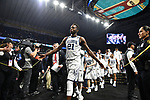 SAN ANTONIO, TX - MARCH 31: Dhamir Cosby-Roundtree #21 of the Villanova Wildcats celebrates with fans after beatin the Kansas Jayhawks in the 2018 NCAA Men's Final Four semifinal game at the Alamodome on March 31, 2018 in San Antonio, Texas.  (Photo by Josh Duplechian/NCAA Photos via Getty Images)