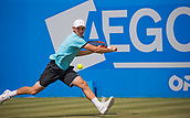 June 14th 2017, Nottingham, England; ATP Aegon Nottingham Open Tennis Tournament day 5;  Dudi Sela of Israel in action on centre court against Ricardas Berankis of Lithuania