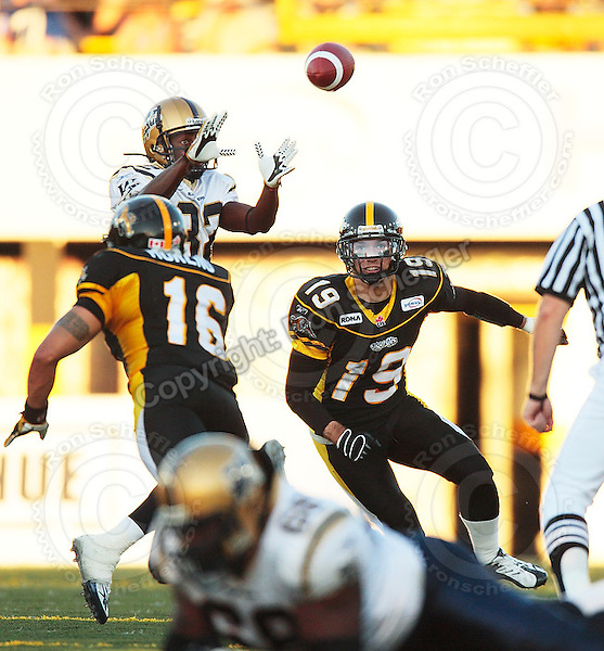 Aug 3, 2007; Hamilton, ON, CAN; Winnipeg Blue Bombers play the Hamilton Tiger-Cats at Ivor Wynne Stadium. The Tiger-Cats defeated the Blue Bombers 43-22. Mandatory Credit: Ron Scheffler. Pictured here is Hamilton Tiger-Cats safety (19) Sandy Beveridge.