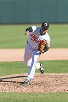 Glendale Desert Dogs relief pitcher Jay Flaa (48), of the Baltimore Orioles organization, delivers a pitch during an Arizona Fall League game against the Mesa Solar Sox at Camelback Ranch on October 15, 2018 in Glendale, Arizona. Mesa defeated Glendale 8-0. (Zachary Lucy/Four Seam Images)
