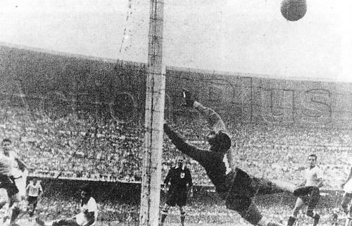 Goalkeeperr Pepe Schiaffino of Uraguay is beaten for the equalising goal making it 1:1- on 16.07.1950 versus Brasi in Maracana-Stadium in Rio de Janeiro. Brasil finally won the game 2:1.