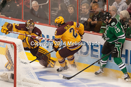 Adam Wilcox (MN - 32), Brady Skjei (MN - 2), Michael Parks (North Dakota - 15) - The University of Minnesota Golden Gophers defeated the University of North Dakota 2-1 on Thursday, April 10, 2014, at the Wells Fargo Center in Philadelphia to advance to the Frozen Four final.