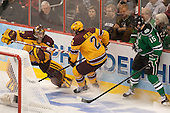 Adam Wilcox (MN - 32), Brady Skjei (MN - 2), Michael Parks (North Dakota - 15) - The University of Minnesota Golden Gophers defeated the University of North Dakota 2-1 on Thursday, April 10, 2014, at the Wells Fargo Center in Philadelphia to advance to the Frozen Four final.