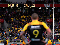 TJ Perenara looks at the scoreboard halfway through the first half of the Super Rugby match between the Hurricanes and Crusaders at Westpac Stadium in Wellington, New Zealand on Saturday, 15 July 2017. Photo: Dave Lintott / lintottphoto.co.nz