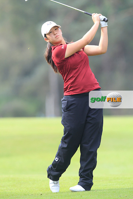 Andrea Lee (USA) on the 2nd hole of the Mixed Fourballs during the 2014 JUNIOR RYDER CUP at the Blairgowrie Golf Club, Perthshire, Scotland. <br /> Picture:  Thos Caffrey / www.golffile.ie