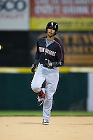 James Baldwin (37) of the Kannapolis Intimidators rounds the bases after hitting a home run against the Hickory Crawdads at L.P. Frans Stadium on April 23, 2015 in Hickory, North Carolina.  The Crawdads defeated the Intimidators 3-2 in 10 innings.  (Brian Westerholt/Four Seam Images)