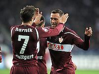 FUSSBALL   1. BUNDESLIGA  SAISON 2011/2012   30. Spieltag FC Augsburg - VfB Stuttgart           10.04.2012 Jubel nach dem Tor zum 1:2 Martin Harnik (li, ) mit Julian Schieber (VfB Stuttgart)