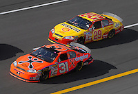 Apr 27, 2007; Talladega, AL, USA; Nascar Nextel Cup Series driver Jeff Burton (31) leads teammate Kevin Harvick (29) during practice for the Aarons 499 at Talladega Superspeedway. Mandatory Credit: Mark J. Rebilas