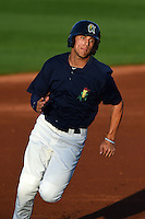 Cedar Rapids Kernels outfielder Zack Larson (23) running the bases during a game against the Quad Cities River Bandits on August 18, 2014 at Perfect Game Field at Veterans Memorial Stadium in Cedar Rapids, Iowa.  Cedar Rapids defeated Quad Cities 4-2.  (Mike Janes/Four Seam Images)